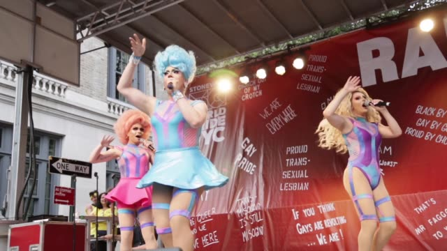 people take part in a event during the stonewall 50th commemoration rally during worldpride nyc 2019 on june 28 2019 in new york city - 2010年代点の映像素材/bロール