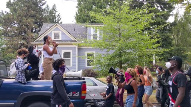 people take part in a peaceful protest against racial injustice and police brutality on august 20, 2020 in portland, oregon. rallies and marches with... - unfairness stock videos & royalty-free footage