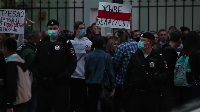 people take part in a protest against belarusian presidential election results in front of the belarus' embassy in moscow russia on august 11 2020 - belarus stock videos & royalty-free footage