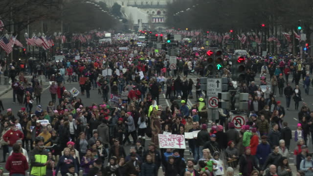 vídeos de stock, filmes e b-roll de people take part in the million woman march one day after the trump inauguration in washington dc an estimated halfmillion people packed the streets... - washington dc
