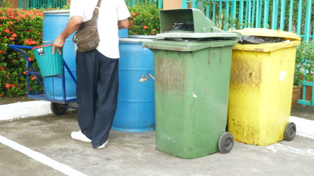 People throwing litter in waste bin