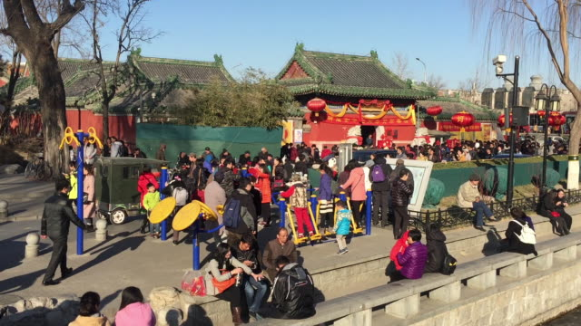 People tour a temple during Chinese Lantern Festival on Feb 11 2017 at famous Houhai area in Beijing China