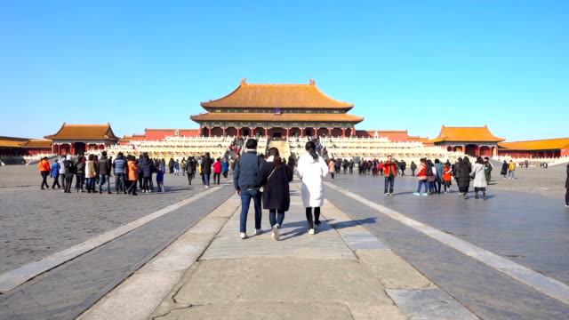 People travel in Forbidden city,beijing,China