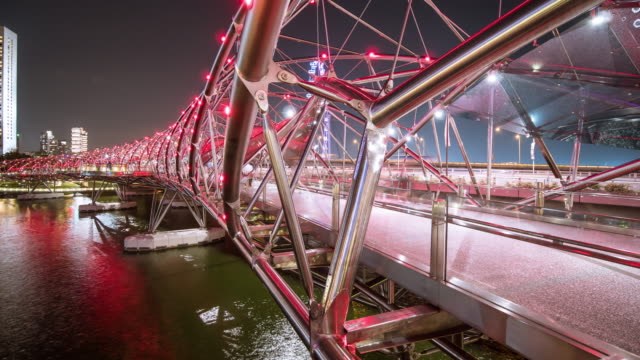 people traveler at night bridge - bridge built structure stock videos and b-roll footage