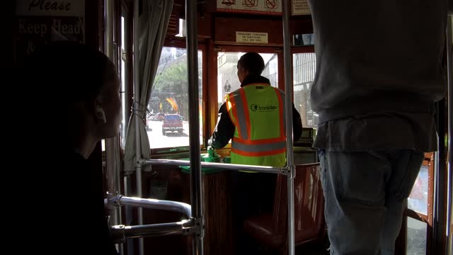 people traveling in a trolley bus. as early as 1940, new orleans public service, inc. began to transition routes formerly served by streetcars to... - nicolas lisperguier stock videos & royalty-free footage