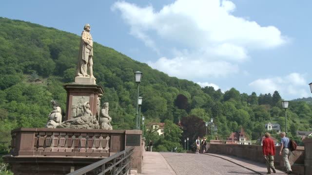 ms people travelling on old bridge / heidelberg, baden-wuerttemberg, germany - ハイデルベルク点の映像素材/bロール