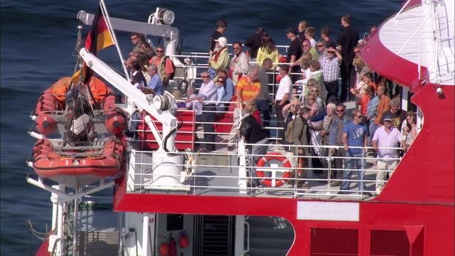 aerial ms pov people travlling into halundar jet / hamburg-heligoland, schleswig-holstein, germany - helgoland stock videos & royalty-free footage