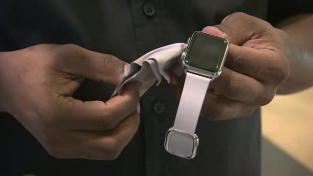 KTXL People Trying on Apple Watches at Apple Store