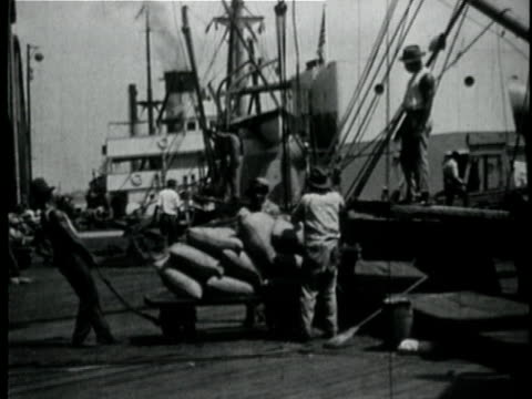 1929 b/w montage people unloading sacks of grain from ship in port / new orleans, louisiana - entladen stock-videos und b-roll-filmmaterial