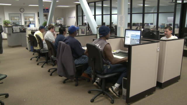 people using computers in job center computer lab/ antioch, california, usa/ audio - 2009 stock videos & royalty-free footage