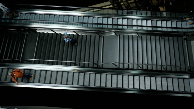people using escalator in railway station - escalator stock videos & royalty-free footage