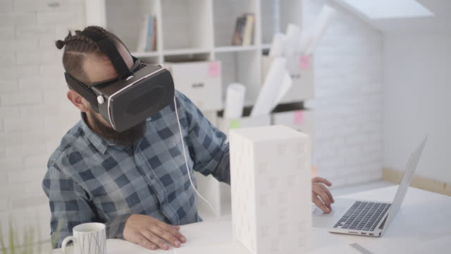 people using virtual reality - brief - architectural model stock videos & royalty-free footage