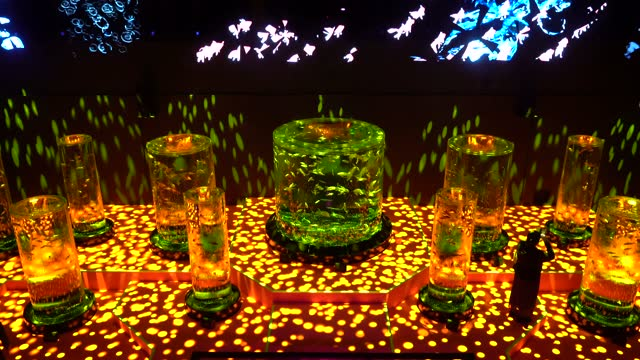 people view kingyo swimming in tanks during the cherry blossom x goldfish exhibition at the art aquarium museum on march 06, 2021 in tokyo, japan.... - freshwater stock videos & royalty-free footage