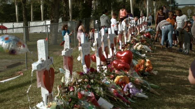 people visit a makeshift memorial setup in front of marjory stoneman douglas high school on february 19, 2018 in parkland, florida. police arrested... - memorial event stock videos & royalty-free footage