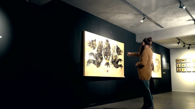 people visit an exhibition - art stock videos & royalty-free footage