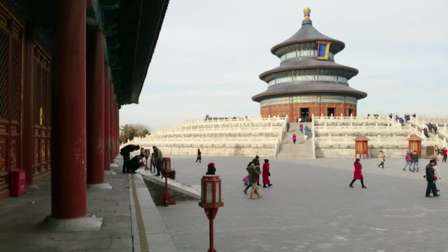 people visit famous temple of heaven on feb 20, 2017 in beijing, china. temple of heaven is one of the unesco world heritage site. - temple of heaven stock videos & royalty-free footage