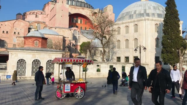 people visit hagia sophia in istanbul's sultanahmet district on march 9 2018 in istanbul turkey - sultanahmet district stock videos and b-roll footage