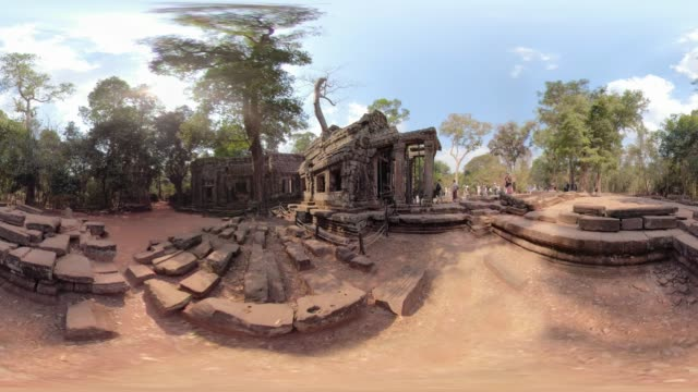 360 vr / people visit ta prohm temple - monoscopic image stock videos & royalty-free footage