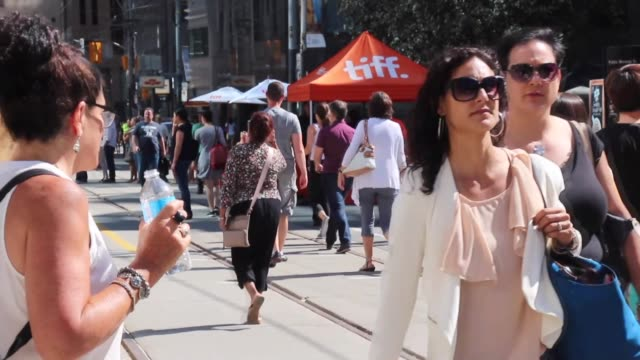 People visit the exhibition organized within the 2016 Toronto International Film Festival TIFF at Princess of Wales Theatre in Toronto Canada on...