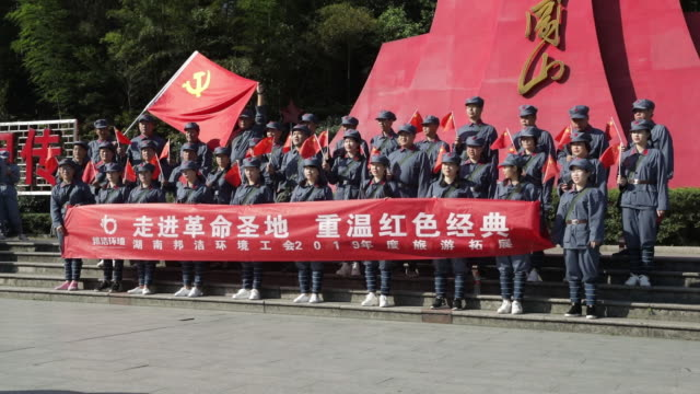 people visiting jinggang mountain in jiangxi province china on saturday september 21 2019 as china prepares to mark the 70th anniversary of the... - mountain pose stock videos & royalty-free footage