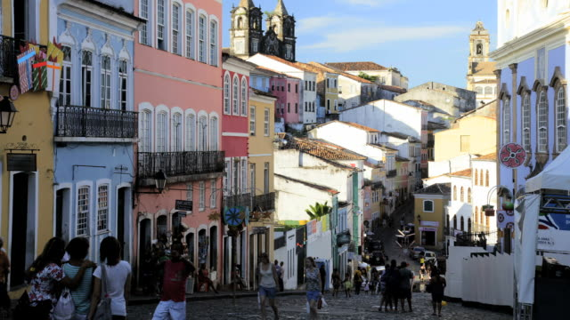 people visiting the historical center pelourinho in old salvador, brazil, south america, time lapse,  - bahia state stock videos and b-roll footage