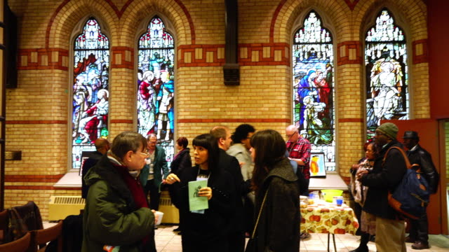 people visiting the interior of the anglican church of the redeemer on march 15 in toronto, canada. the building is one of the oldest in the capital... - anglican stock videos & royalty-free footage