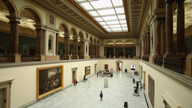ws people visiting the royal museums of fine arts of belgium - museum stock videos & royalty-free footage