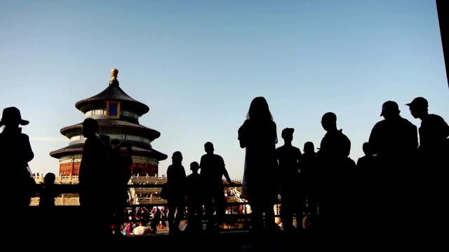 people visiting the temple of prayer in tiantan park - beijing stock videos & royalty-free footage