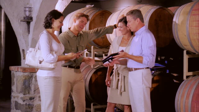 MS, People visiting wine cellar, Marlboro, New York State, USA