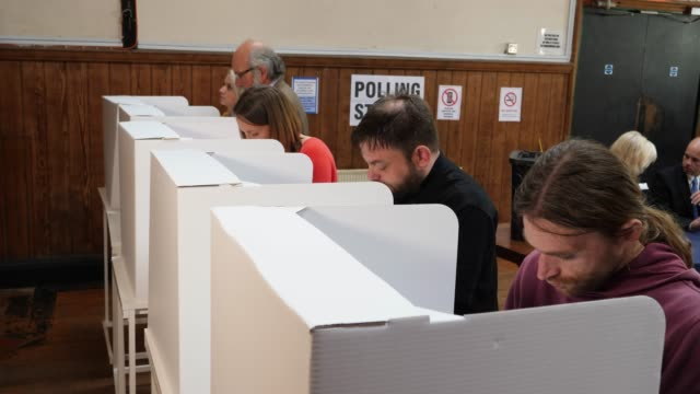4k: people voting in polling booths at the election - voting at polling place - governo video stock e b–roll