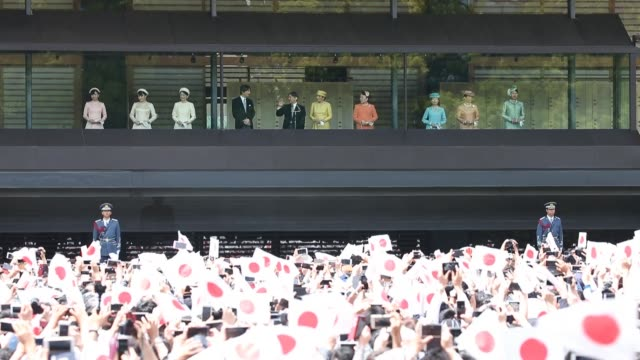 people wait for the first public appearance of japan's emperor naruhito at the imperial palace on may 04 2019 in tokyo japan emperor naruhito has... - royalty stock videos & royalty-free footage