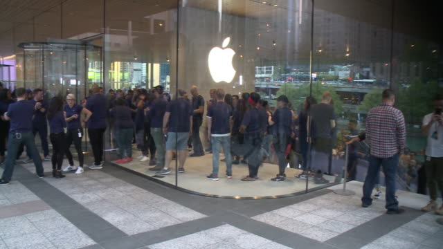 WGN People Wait in Long Lines to Enter New Apple Store in downtown Chicago on Oct 20 2017