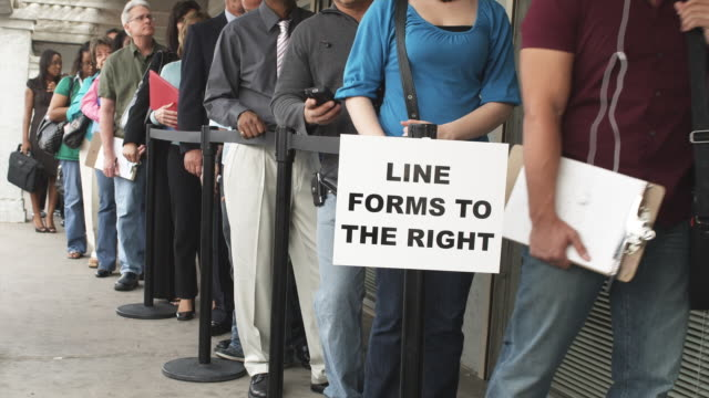 ms, people waiting in line at unemployment office, phoenix, arizona, usa - unemployment stock videos and b-roll footage