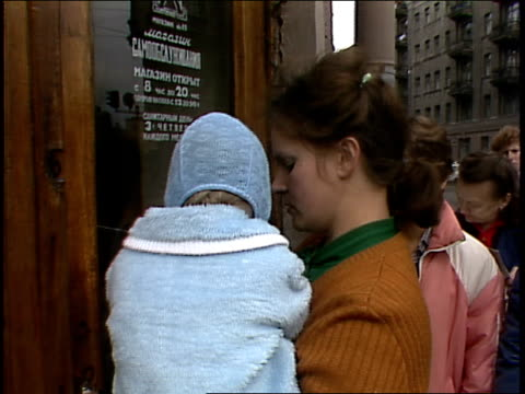 people waiting in line for groceries in 1987 moscow - food stamps stock videos & royalty-free footage