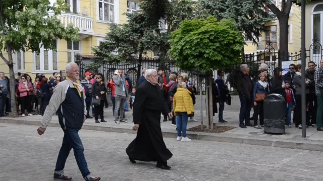 People waiting in queue to attend the Pope Francis Regina Coeli Prayer in front St Aleksandar Nevski Cathedral in the Bulgarian capital of Sofia Pope...