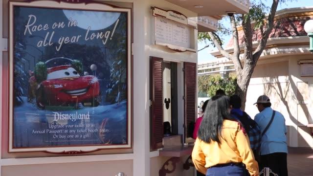 People waiting on line to purchase admittance tickets to Disneyland Disneyland Enterance/Ticketing on November 06 2013 in Anaheim California