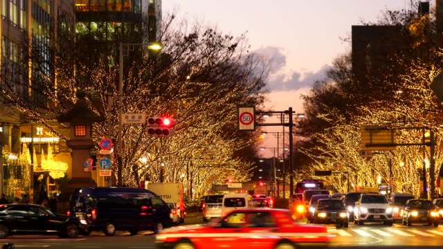 People walk and cars run on Aoyama Dori Street, which street crosses the illuminated Omotesando Street at sunset at Minamiaoyama, Minato Tokyo Japan on December 05 2017. Tree lined Omotesando Street is decorated and illuminated for winter holydays season.