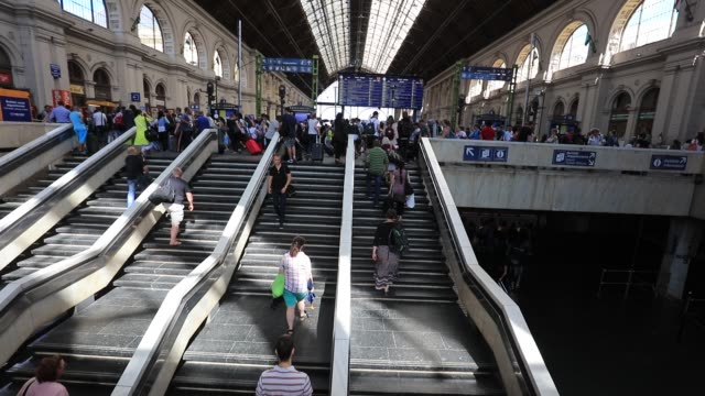 People walk around Keleti Station on July 15 2016 in Budapest Hungary Last summer thousands of refugees and migrants were using the socalled 'Balkans...