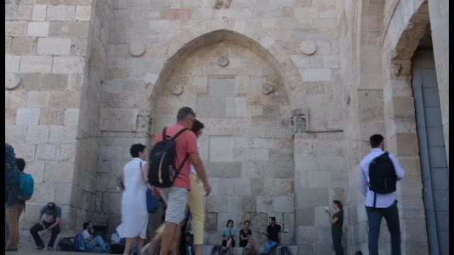 people walk at jaffa gate on july 18 2018 in jerusalem old city israel - judaism stock videos & royalty-free footage