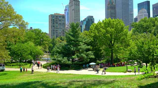 stockvideo's en b-roll-footage met people walk in central park - formal garden