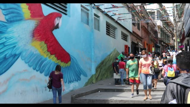 people walk in front of a mural of a scarlet macaw on boulevard of petare during the last day of the 5x10 plan implemented by the government during... - boulevard stock videos & royalty-free footage
