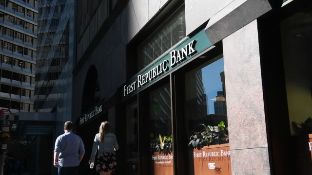 People walk past exterior of First Republic Bank in San Francisco California on Friday March 31 2017