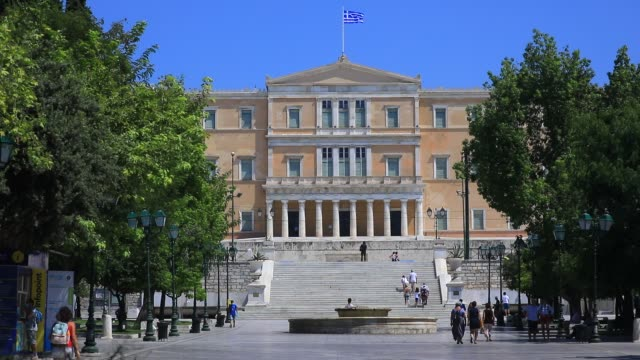people walk the steps that leads to the hellenic parliament building near the syntagma square on august 23 2020 in athens greece during the... - politics illustration stock videos & royalty-free footage