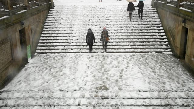 vídeos de stock, filmes e b-roll de people walk through central park during a snowstorm march 21 2018 in new york city the fourth nor'easter of the month hit the city on wednesday... - atlântico central eua