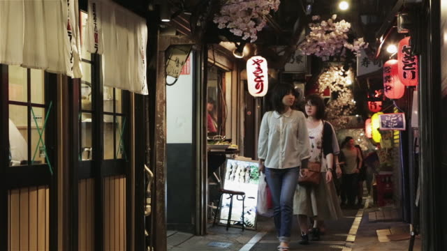 ls people walk through omoide yokocho, a narrow alley of traditional japanese pubs and restaurants / tokyo, japan - ランプ点の映像素材/bロール