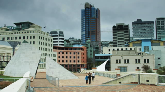 people walking across civic square, new zealand - courtyard stock videos & royalty-free footage