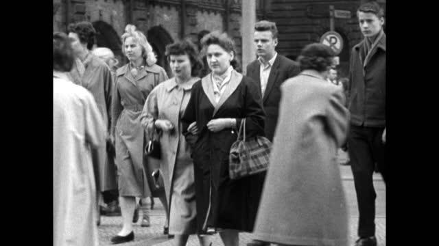 ms people walking along a street in east berlin; 1959 - 1950 1959 stock videos & royalty-free footage