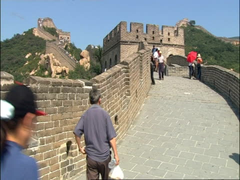 People walking along Great Wall of China, Badaling, China