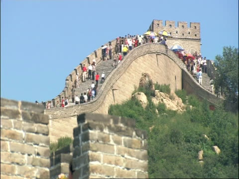 People walking along Great Wall of China on hill, low angle, Badaling, China