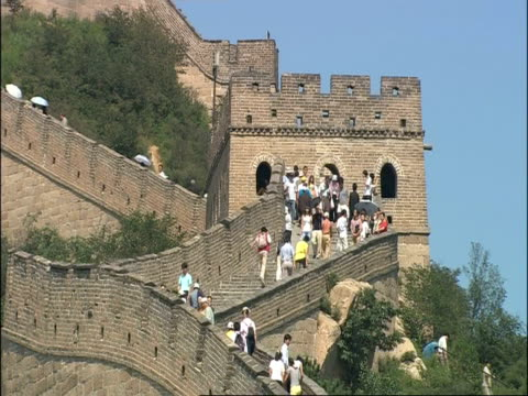 People walking along Great Wall of China, zoom out, Badaling, China
